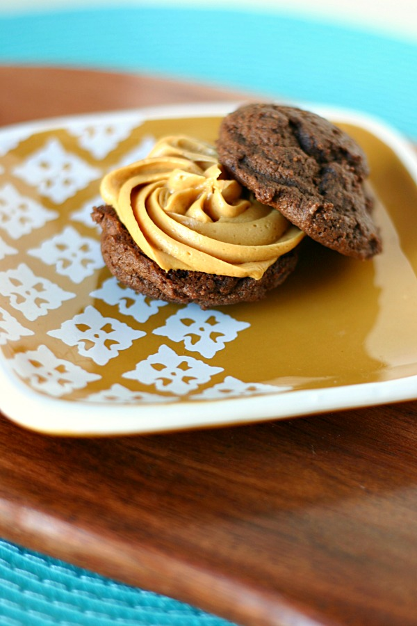 double chocolate chip cookie sandwiches with dulce de leche frosting
