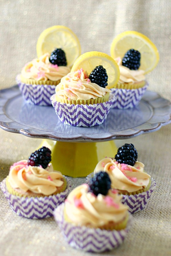lemon blackberry cupcakes with sweet tea frosting