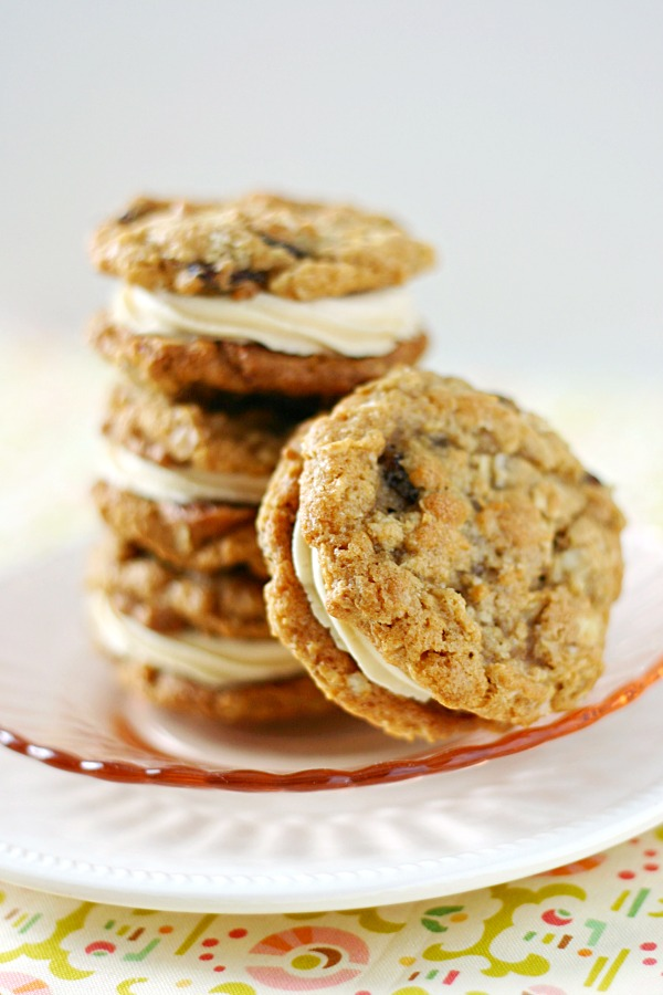 chewy oatmeal cookie sandwiches with sweet tea frosting