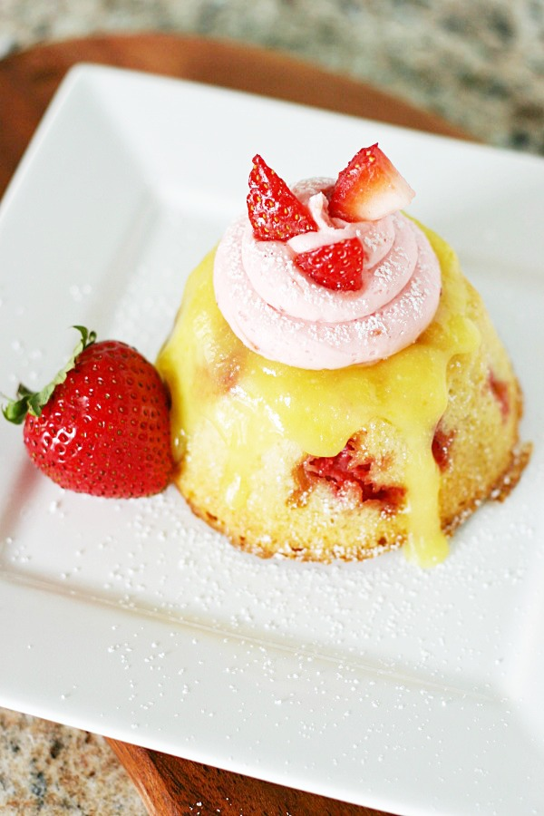 strawberry shortcake bundt cake with warm lemon curd