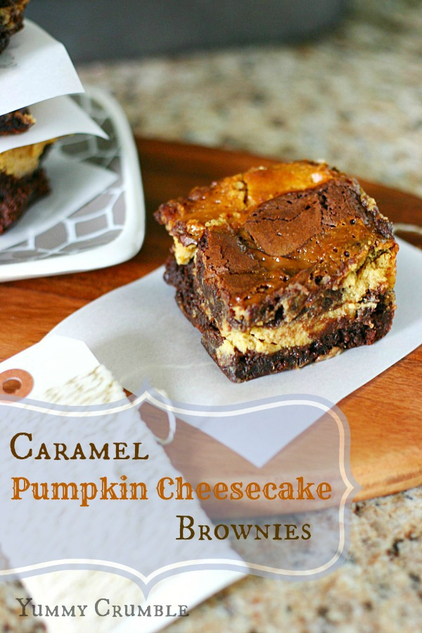Caramel Pumpkin cheesecake brownies www.yummycrumble.com