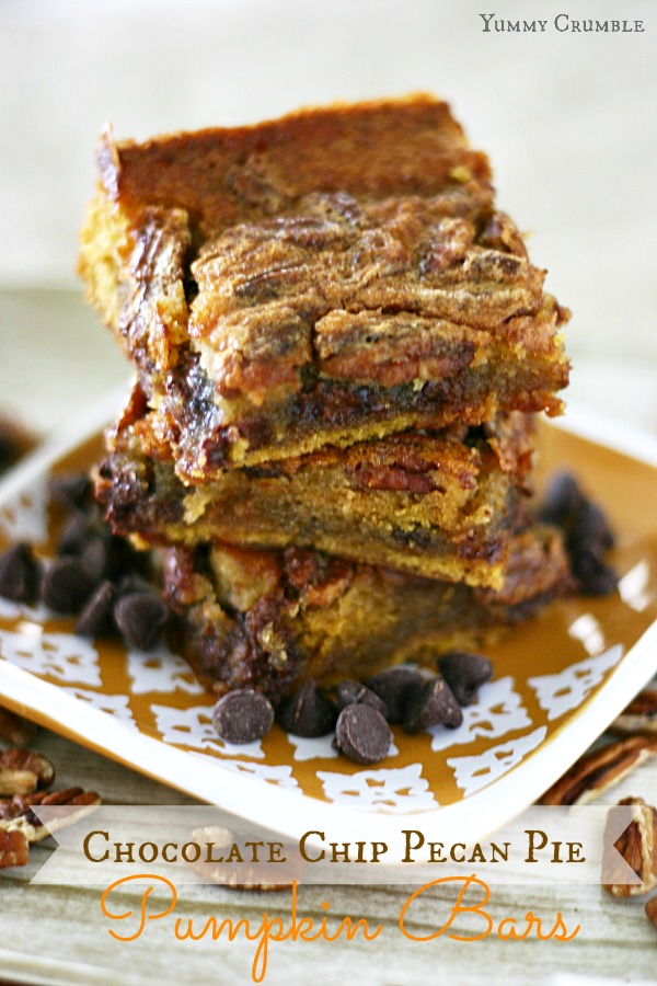 Chocolate Chip Pecan Pie Pumpkin Bars - www.yummycrumble.com