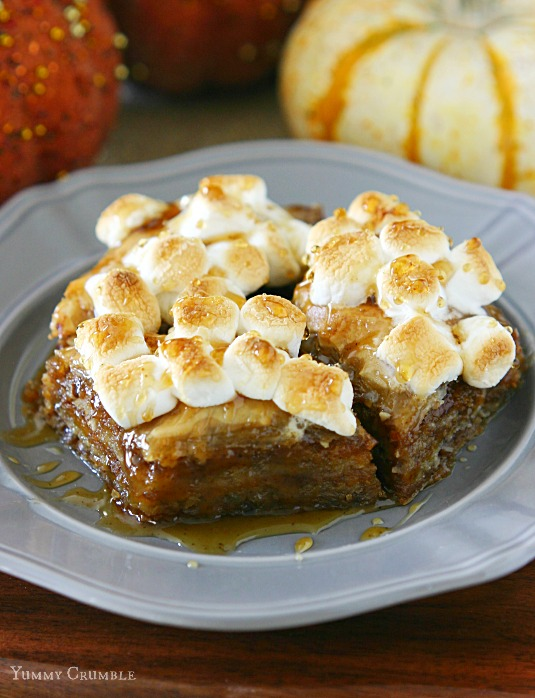 Sweet potato pie baklava with toasted marshmallow topping and sweet cinnamon honey syrup - www.yummycrumble.com