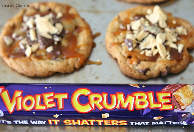 Caramel Violet Crumble Chocolate Chip Cookies - www.yummycrumble.com