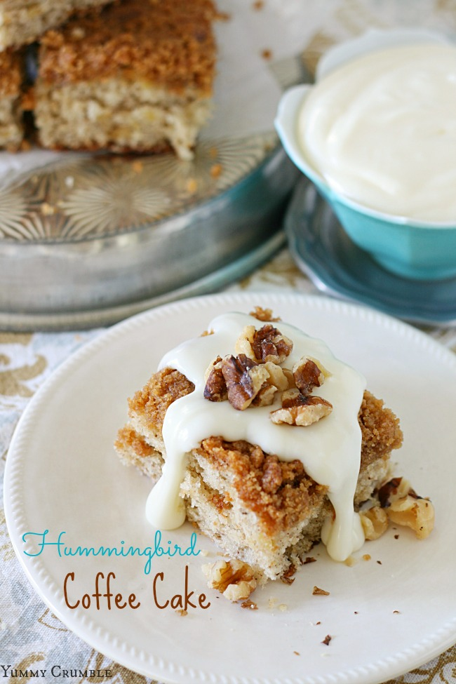 Hummingbird Coffee Cake with Cream Cheese Glaze - yummycrumble.com