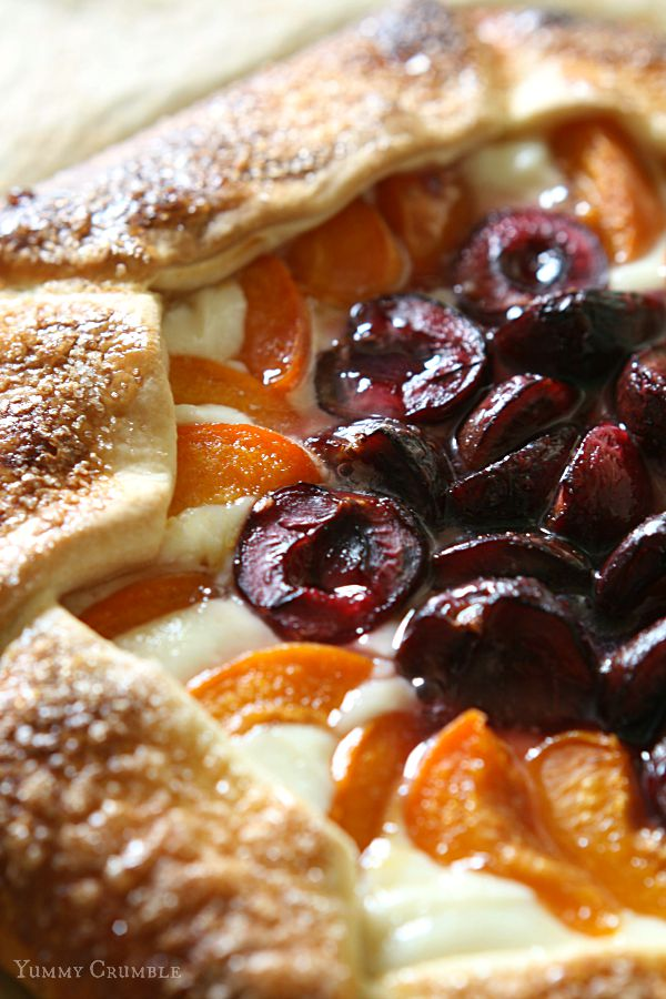 Apricot and cherry ricotta galette