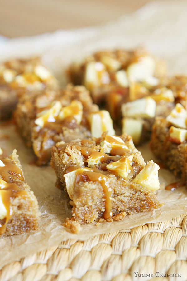 Apple Peanut Butter Bars with Salted Caramel