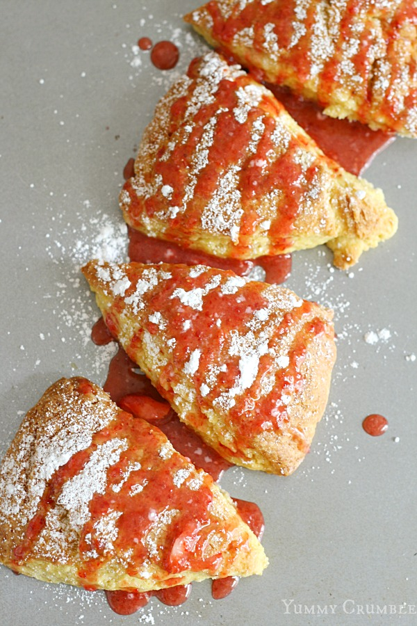 Lemon Scones with Strawberry Glaze